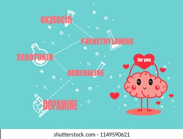 cute brain falling in love cartoon vector.chemicals of love concept.