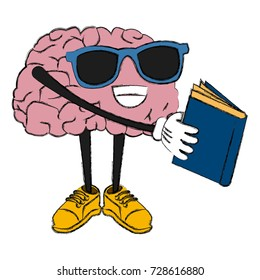 Cute brain reading cartoon