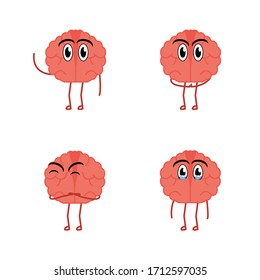 Cute Brain Vector with his expressions