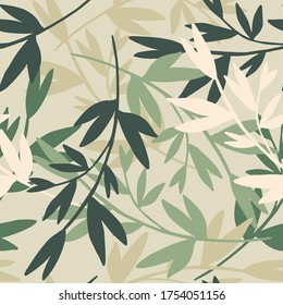 Cute branches with leaves seamless pattern. Organic background. Decorative forest leaf endless wallpaper. Design for fabric, textile print, wrapping, cover. Vector illustration.