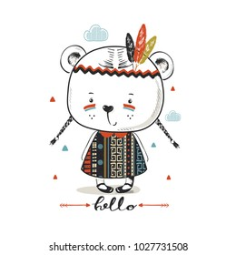 cute brave bear girl.hand drawn vector illustration.can be used for kid's or baby's shirt design,fashion print design, fashion graphic, t-shirt, kids wear
