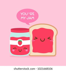 "Cute bread and jam illustration with quote ""you're my jam"" for  valentine's day card design"