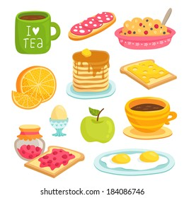 Cute breakfast icon cartoon set with various products: tea, coffee, sandwich, porridge, orange, apple, pancakes, eggs, toasts with cheese and jam