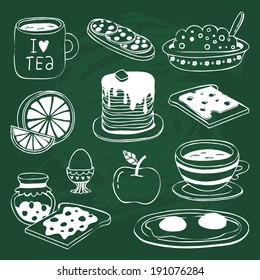 Cute breakfast icon set with various products - tea, coffee, sandwich, porridge, orange, apple, pancakes, eggs, toasts with cheese and jam - drawn on chalkboard