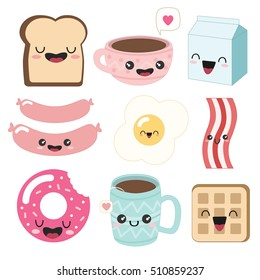 Cute breakfast icons. Funny toast (bread), cup of coffee, tea, milk, sausages, fried egg, bacon, donut, waffle.