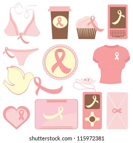 Cute breast cancer awareness items collection