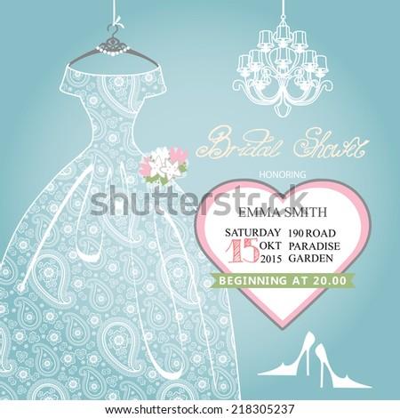 cute bridal shower invitationretro females wedding dresshigh heeled shoeschandelier