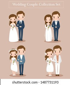 cute bride and groom couple set for wedding invitations card design, vector isolated with background