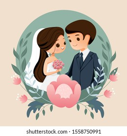 cute bride and groom with flower wedding invitation card