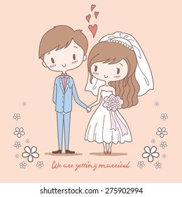 Cute bride and groom on pastel color style