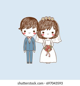 Cute bride and groom standing and smiling on pastel color style. Isolated on blue background. Flat design. Vector illustration.