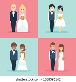 Cute bride and groom wedding cake toppers flat vector icon set