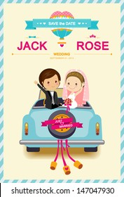 Cute Bride and Groom in Wedding Car Wedding Invitation Card template vector/illustration