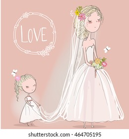 cute bride with a little girl