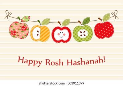 Cute bright apples garland as Rosh Hashanah (Jewish New Year) symbols