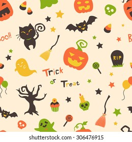Cute Bright Cartoon Halloween Seamless Pattern With Pumpkins Black Cat Ghost Bats
