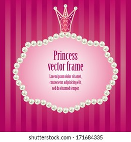 cute bright pink purple striped background for little princess,  glamour girl and woman.  realistic pearls frame with crown for your photo or sample text  vector illustration