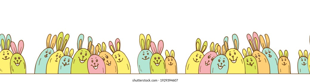 Cute bright seamless border horizontal with colored shape egg bunny. Colorful animal character element on white background. Hand drawn vector illustration for Happy Easter festive design.