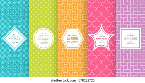 Cute bright seamless pattern background. Vector illustration bright design. Abstract geometric frame. Stylish decorative label set. Pale light color. Colorful geometric ornament. Feminine baby style