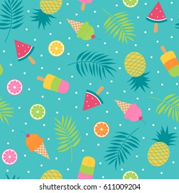 Cute bright summer holidays seamless pattern with tropical fruits, ice cream and palm leaf vector