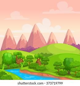 Cute bright vector sunny day landscape, cartoon nature background