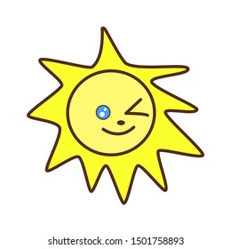 Cute bright yellow kawaii the sun shines, smiles and winks with one eye. Vector flat icon, logo, solar sticker. Children's cartoon illustration.