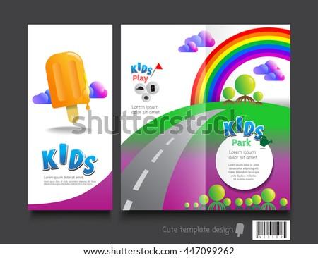 Cute Brochure Template Design Kids Concept Stock Vector Royalty