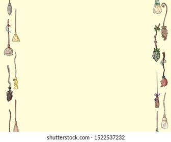 Cute broomstick doodles seamless pattern letter format. Halloween decoration magic brooms background tile. Space for text