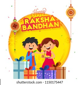 Cute brother and sister celebrating Raksha Bandhan festival with illustration of gift boxes and hanging rakhi (wristbands) on white background.