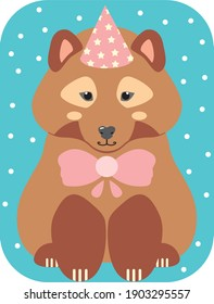 Cute brown bear with a bow and a festive cap