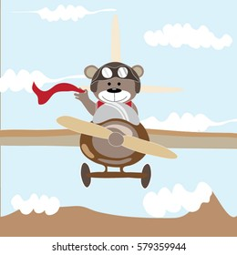 Cute brown bear cartoon fly high in the sky with blue background cloud and mountain. Nice shirt design for kid.