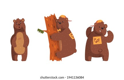Cute Brown Bear in Different Situations Set, Funny Woodland Animal Character Cartoon Vector Illustration