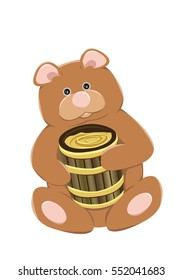 Cute brown bear with a wooden barrel full of honey. Vector illustration, isolated on white background.