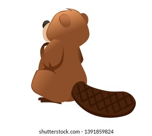 Cute brown beaver sitting. Cartoon character design. North American beaver Castor canadensis. Rodentia mammals. Happy animal. Flat vector illustration isolated on white background. Back view.
