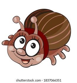 cute brown beetle character, cartoon illustration, isolated object on white background, vector, eps