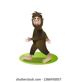 Cute brown bigfoot, yeti walking through deep forest