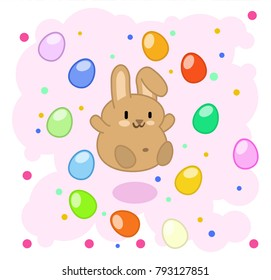 Cute brown bunny jumping in pink cloud of colored easter egg (kawaii vector graphic)