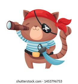 Cute brown cat pirate. Vector illustration on white background.