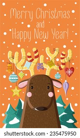 Cute brown deer with Christmas toys on the horns. Picture for prints, Christmas cards, decoration, covers, poster