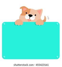 Cute brown dog hold blank  board vector illustration