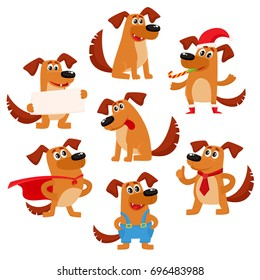Cute brown funny dog, puppy character, cartoon vector illustration isolated on white background. Cute and funny dog, puppy character, symbol, avatar doing various actions