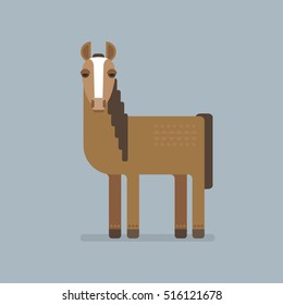 Cute brown horse with ornament on fur on blue background. Farm animals. Free and wild mustang. Kiddie cartoon character. Flat design.