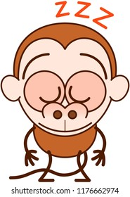 Cute brown monkey in minimalist style with big rounded ears, bulging eyes and long tail sleeping placidly while standing up in a surprising and tired mood
