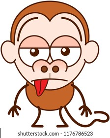 Cute brown monkey in minimalist style with big rounded ears, bulging eyes and long tail while feeling unmotivated and showing a sad apathetic attitude