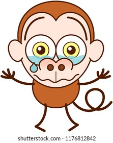 Cute brown monkey in minimalist style with big rounded ears, bulging eyes and long tail while crying bitterly and showing a very sad and dispirited mood