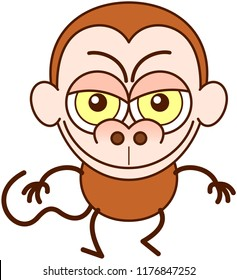 Cute brown monkey in minimalist style with big rounded ears, bulging eyes and long tail while walking, frowning, smiling mischievously and showing a naughty mood