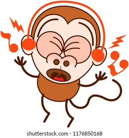 Cute brown monkey in minimalist style with big rounded ears and long tail while wearing earphones, clenching its bulging eyes, listening to music, smiling generously and dancing animatedly