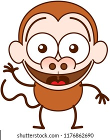 Cute brown monkey in minimalist style with big rounded ears, bulging eyes and long tail while waving, greeting and welcoming animatedly