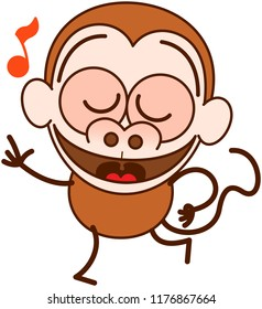 Cute brown monkey in minimalist style with big rounded ears and long tail while closing its bulging eyes, smiling generously and dancing animatedly