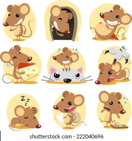 Cute brown mouse cartoon action set,  in different situations like: standing confident, hiding in its hole, eating cheese, with bird, sleeping and trapped in a rat trap.